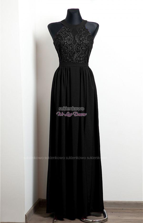 NEFRE długa sukienka z koronką czarna