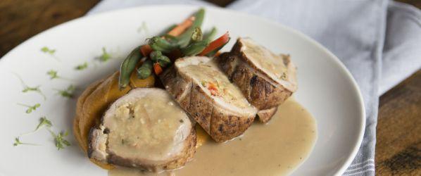 Roasted Pork Tenderloin With Cajun Cornbread Stuffing Recipe - Genius Kitchen