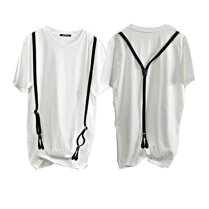 Urban vintage street fashion style mens Suspender t shirt