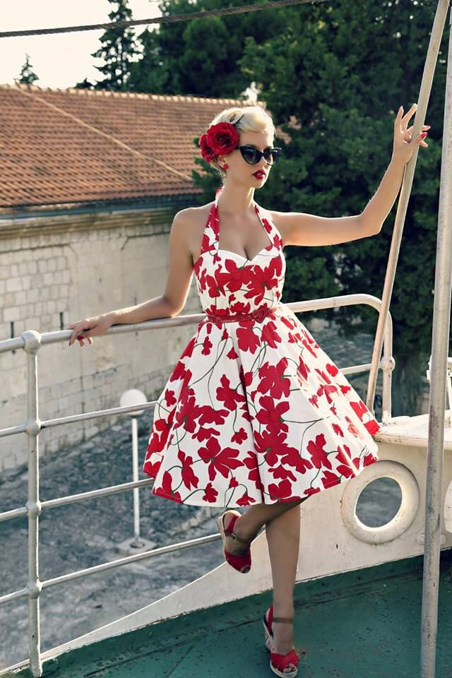 Pin Up Dress Red Floral Dress Vintage Floral Dress Rockabilly Clothing 1950s Dress Retro Dress Swing Bridesmaid Dress Plus Size Prom Party by LadyMayraClothing on Etsy https://www.etsy.com/listing/209286006/pin-up-dress-red-floral-dress-vintage