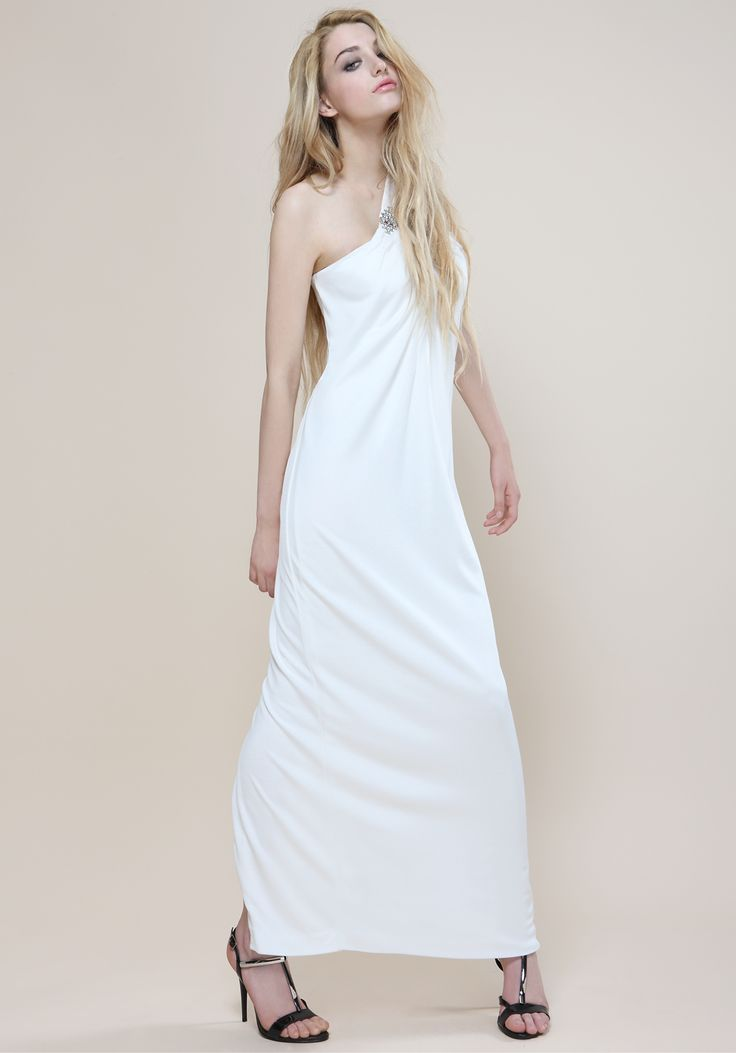 Long white dress with swarowsky fastening Proudly Made in Italy