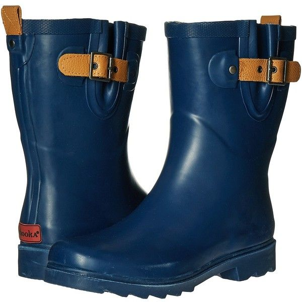 Chooka Top Solid Mid Rain Boot (Deep Navy) Women's Rain Boots ($65) ❤ liked on Polyvore featuring shoes, boots, ankle boots, slip on ankle boots, strappy ankle boots, bootie boots, wellies boots and short leather boots