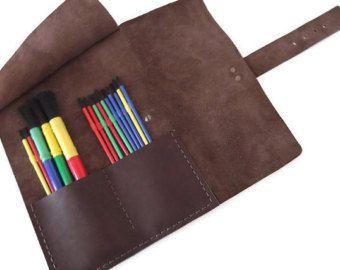 Verontruste Paint Brush leergeval, borstels zaak, potlood zaak, Make Up organisator, Tool geval Travel Case, potlood Roll, Brown, Hand gestikt