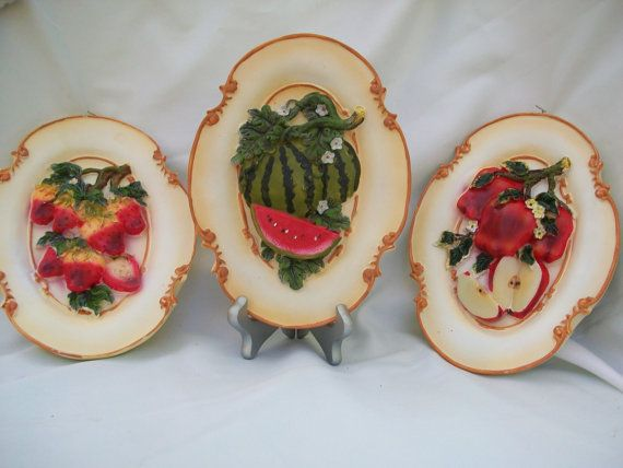 3 Decorative Fruit Wall Plaques by Gem2thei on Etsy