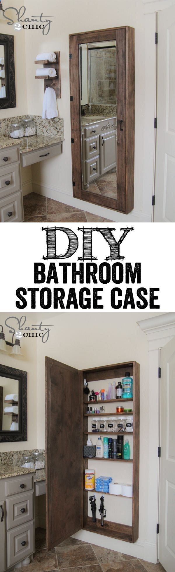 DIY Bathroom Organization Cabinet with full length mirror. LOVE THIS IDEA! This is how the downstairs bathroom is going to be... (Hadnt thought of the mirror, though!)