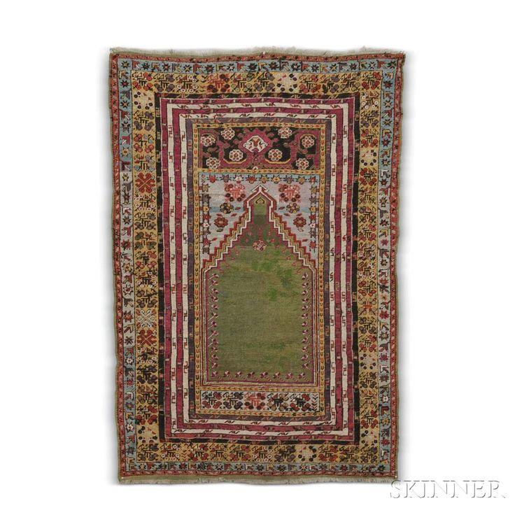 Kirshehir Prayer Rug, Central Turkey, c. 1870, 6 ft. 2 in. x 4 ft. 1 in.   | Skinner Auctioneers Sale 2942T