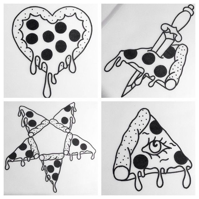 """Some line drawings for a pizza sheet I'm working on, special pizza price """"palm…"""