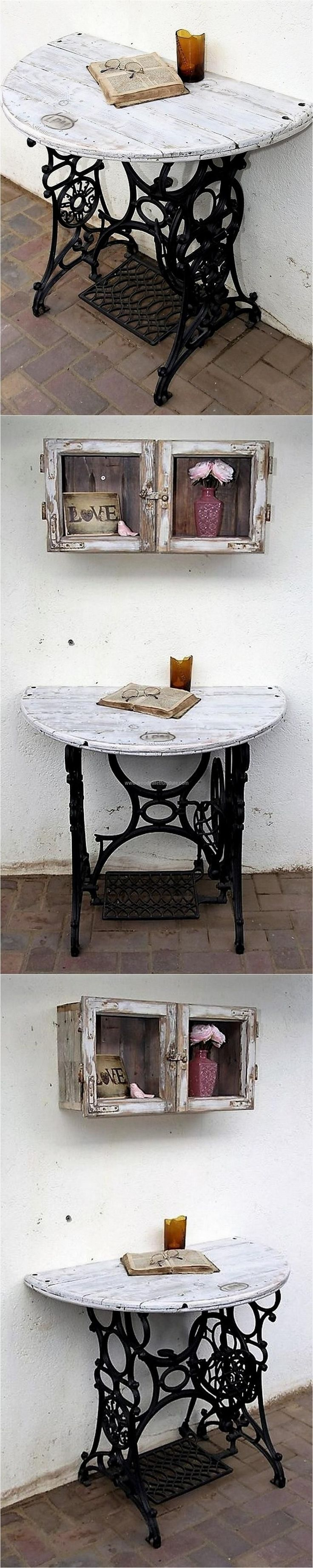 This half entryway table idea with the ready-made base by Lucie's Palettenmöbel is amazing for the reading lovers. It can be placed in an empty area of the home to make it look nice.