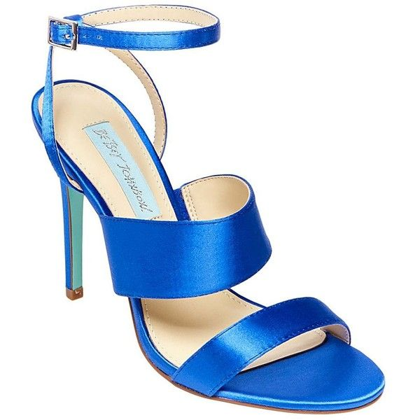 Betsey Johnson SB-Jenna Sandals (1,880 MXN) ❤ liked on Polyvore featuring shoes, sandals, blue satin, sexy stilettos, sexy sandals, open toe sandals, high heel shoes and high heel sandals