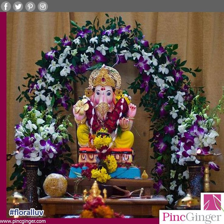 13 best images about ganpati decorations on pinterest for Artificial flower decoration for ganpati