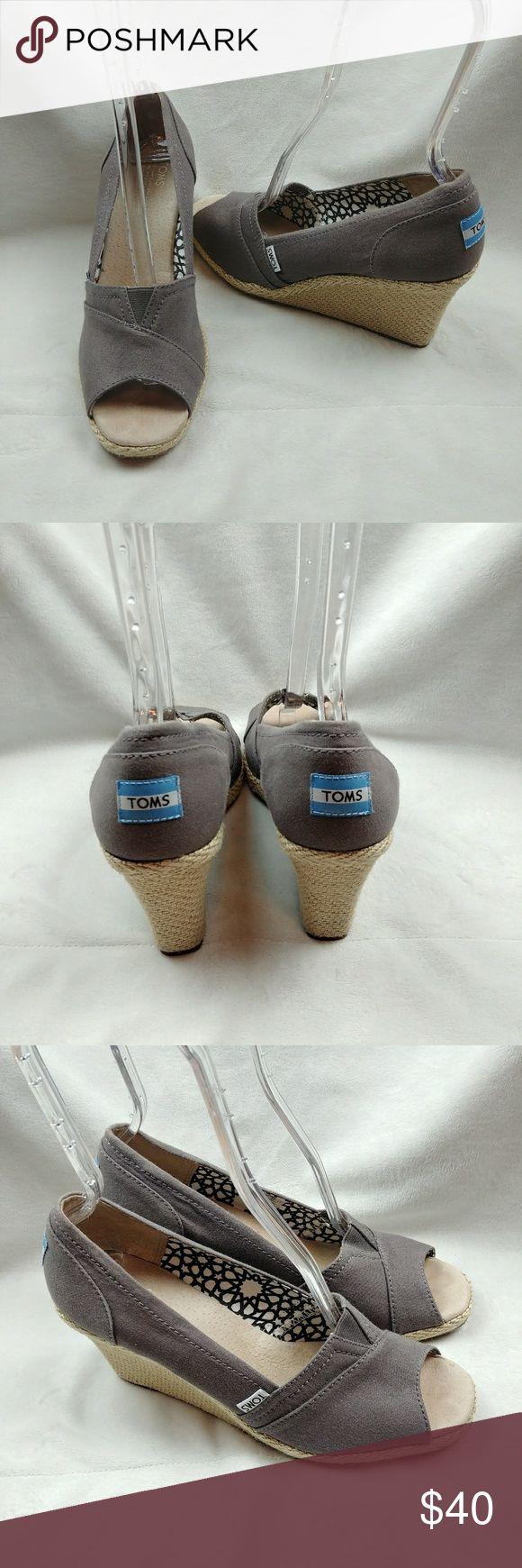 "Toms Espadrille Open Toe Wedges Sandals Gray Women Toms Espadrille Open Toe Wedges Sandals Gray Women Shoes Size 10   Back Platform: 3.5"" inch   Front: 1/2"" inch Toms Shoes Wedges"