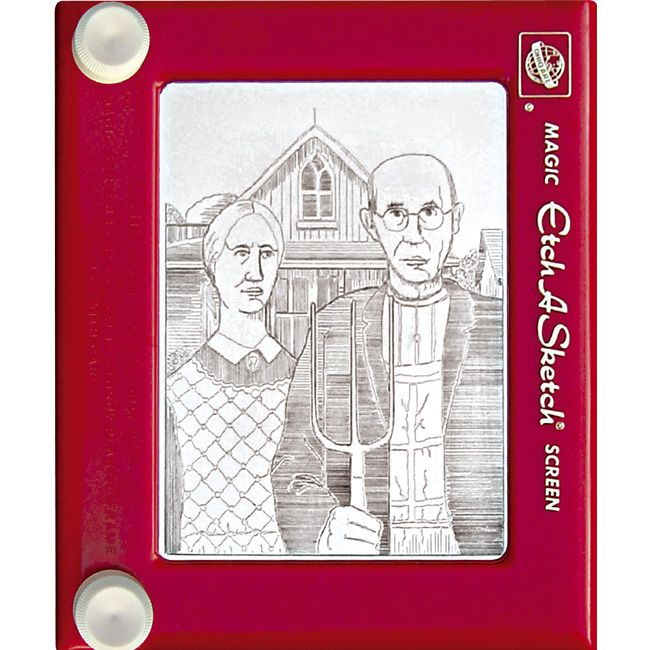American Gothic - Jeff's amazing etch-a-sketch art