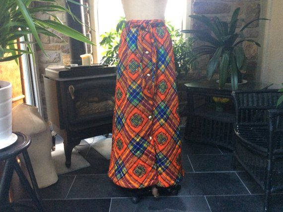 Dome Buttons Colorful Loungewear by Danville Quilted Maxi Skirt 70s Long Skirt