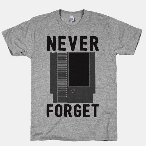 Never forget one of the most iconic items of the 80s with this nerdy video game design that show the good ol' NES cartridge we all have blown in at one point in time.
