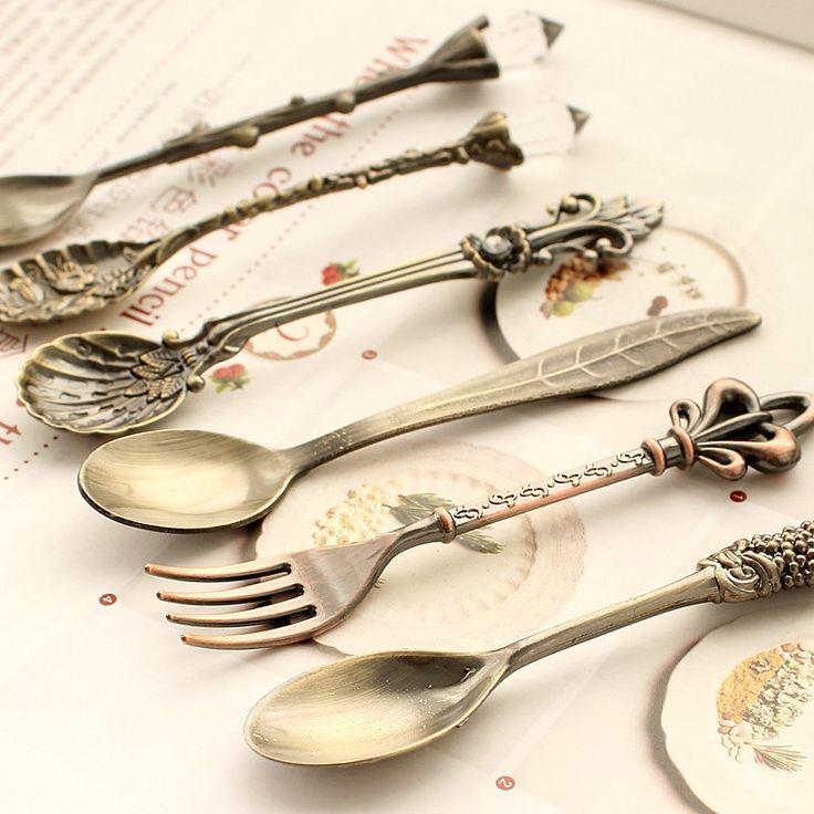 Kuchnia jadalnia & bar Nostalgiczne rocznika królewski styl bronze rzeźbione ekologiczne małe kawy łyżka i mały widelec na słodkie przekąski