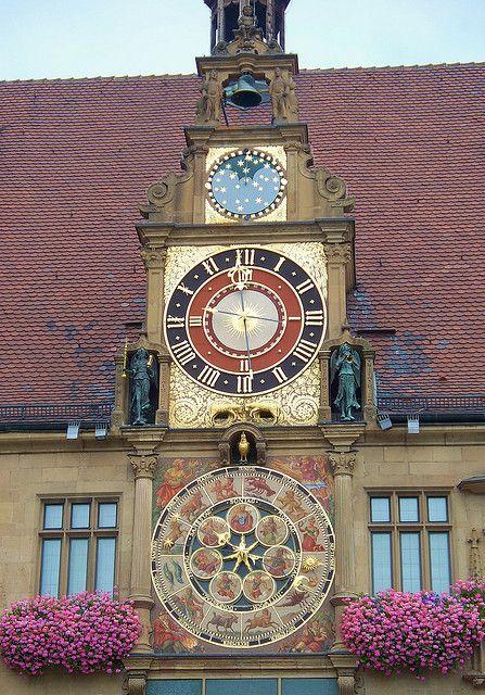 Rathaus Clock (astronomical clock on Town Hall), #Heilbronn, Baden-Württemberg - Germany