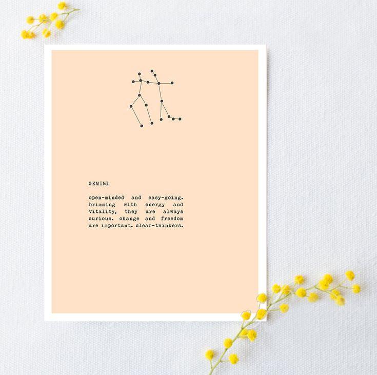 Gemini dierenriem teken poster met sterrenbeeld door Riverwaystudios