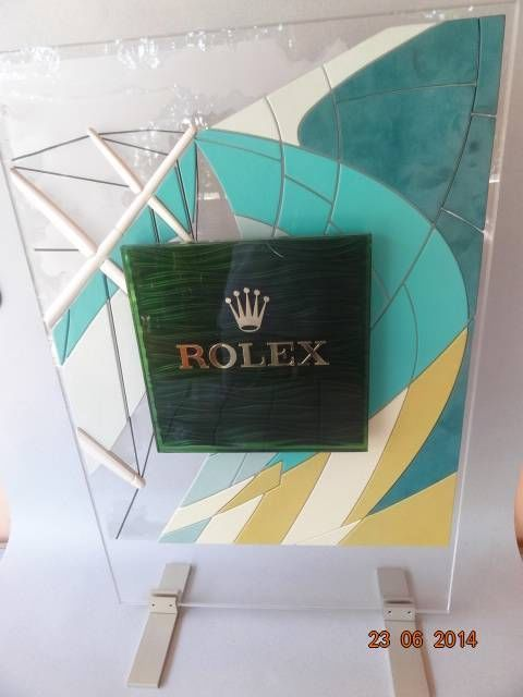 RARE ROLEX WATCH ADVERTISING DISPLAYsign PLEXIGLASS PLASTIC METAL JEWELLER SHOP #CARTIER #PATEKPHILIPPE #BULGARI