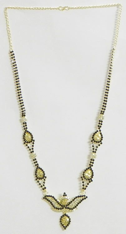 Black and White Stone Studded and Gold Plated Mangalsutra (Stone and Metal)