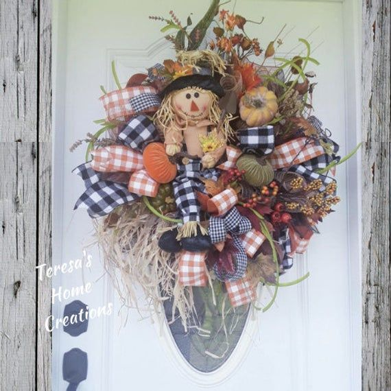 Large Scarecrow Wreaths, Large Fall Wreaths, Front Door Wreaths, Fall Wreath , Scarecrow Wreaths, Large Halloween Wreaths, Pumpkin Wreath