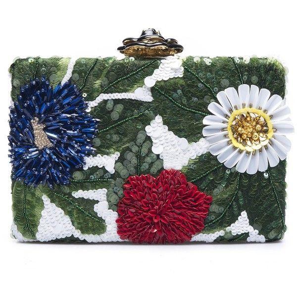 Oscar de la Renta Floral Embroidered Silk-Faille Rogan Box Clutch ($1,750) ❤ liked on Polyvore featuring bags, handbags, clutches, sequin clutches, hard clutch, oscar de la renta, sequin handbags and oscar de la renta handbags