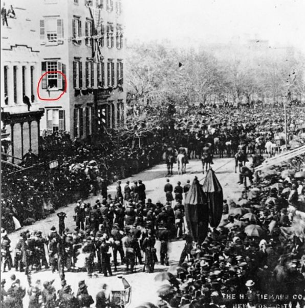 This remarkable photograph shows Abraham Lincoln's 1865 New York funeral process passing the Cornelius Roosevelt residence. The boys in the circled window observing the procession are 6-year old future president Theodore Roosevelt and his brother.: Theodore Roosevelt, Teddy Roosevelt, Lincoln Funeral, Abraham Lincoln, Future Presidents, Floors Windows, Funeral Process, Union Squares, New York