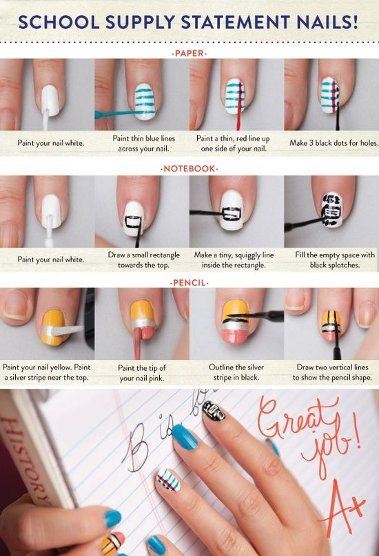 Back To School Nail Art. Must do for the first day of school.