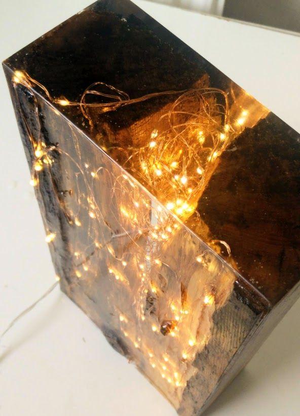 Resin Wood Light Block Resin Art In 2019 Resin Furniture Resin Resin Crafts