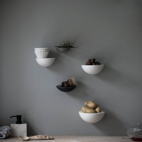 wall bowls and shelf set  porcelain minimalist flush wall by POAST