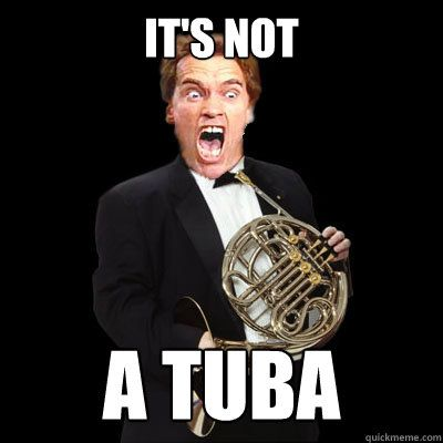 It's not a tuba! I laughed way harder than I probably should have at this...simply bc this is a french horn and we called my daughter's french horn a tuba