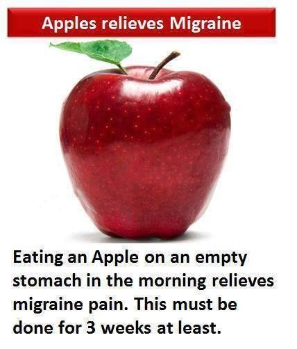 #Migraine is a severe headache, usually affecting one side of head, with #nausea, #eye pain, giddiness, #vomiting, #visual disturbances etc.  Eating an #Apple on an empty stomach in the morning relieves one of migraine pain.  #InlifeHealthcare