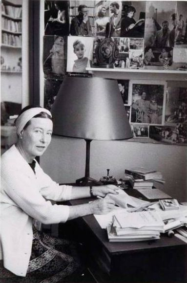Simone de Beauvoir at her office, ca 1955, Paris. Photo by Gisèle Freund (1908-2000).
