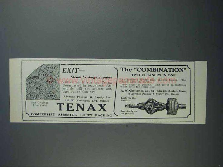 1927 A.W. Chesterton Ad - Tenax Asbestos Sheet Packing
