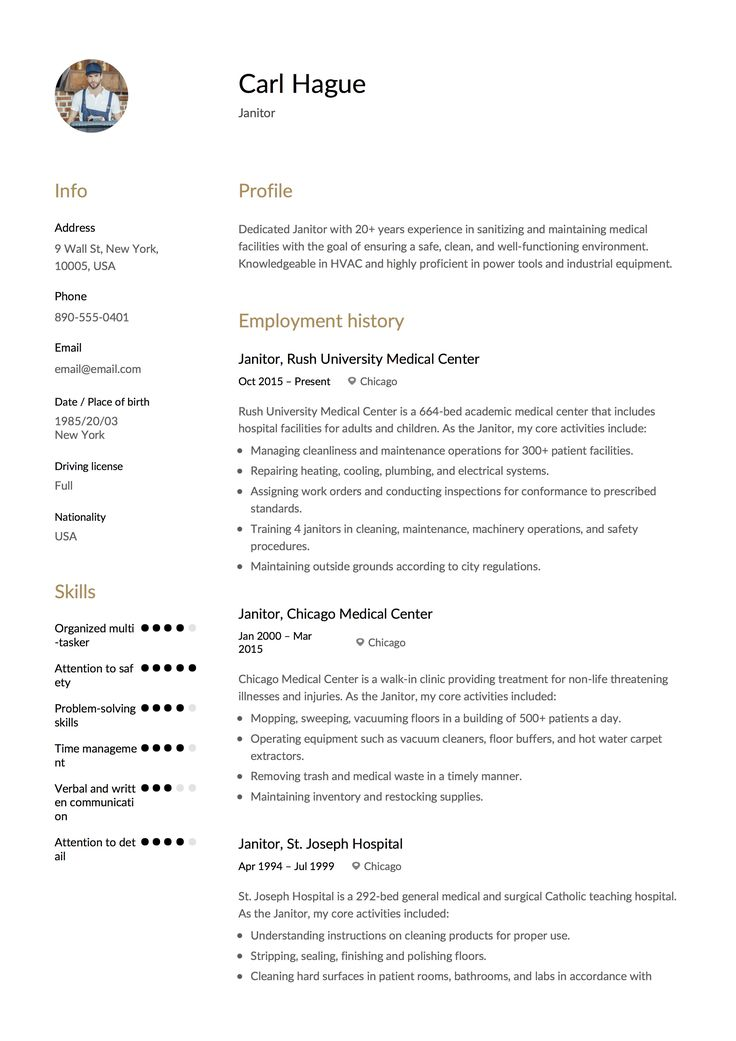 janitor resume sample  template  example  cv  formal