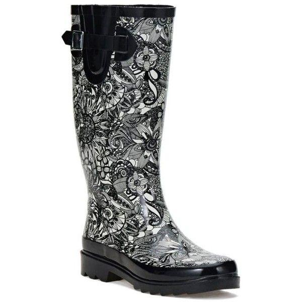 Sakroots Black And White Spirit Desert Rhythm Tall Rainboot - Women's ($49) ❤ liked on Polyvore featuring shoes, boots, black and white spirit desert, rubber shoes, black and white boots, wellies boots, black and white shoes and wellington boots