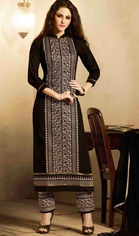 Unique attractiveness comes out out of your dressing style and design with this black embroidered cotton salwar kurta dress. This attire is showing some really mesmerizing and innovative patterns embroidered with lace and resham work. #UniqueStyleDressCollection