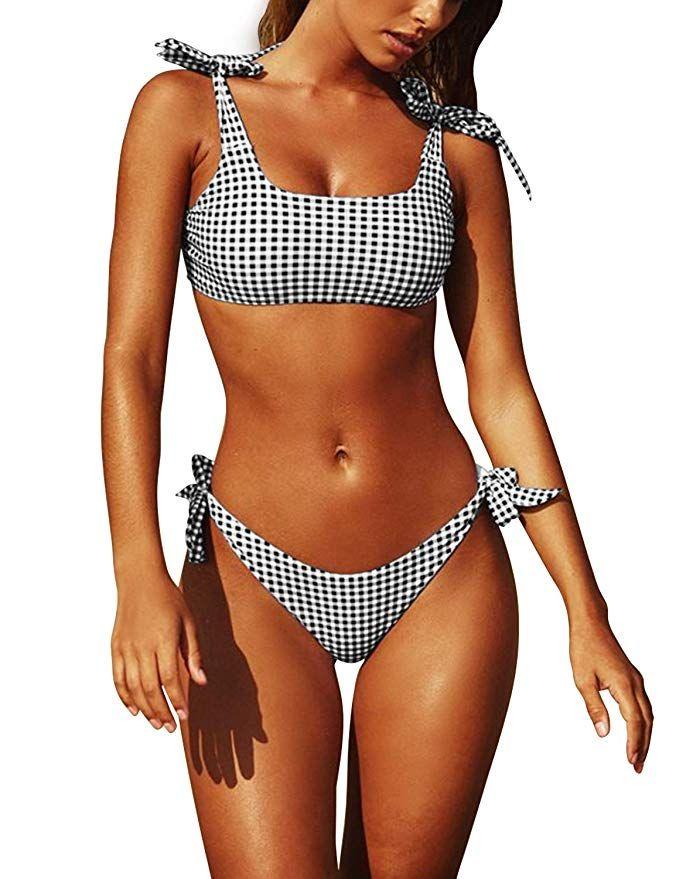 Women Bikini Sets Brazilian Padded Top Thong Cheeky Bikini Bottom Two Pieces Bathing Suits