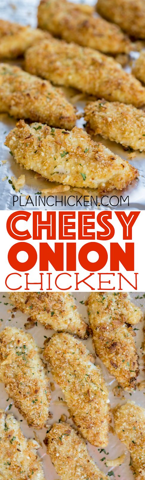 Cheesy Onion Chicken - chicken tenders coated with french fried onions, parmesan cheese, panko bread crumbs and garlic.The flavor is FANTASTIC! Baked not fried! Can make ahead and freeze for later. Great as a main dish, on top of a salad or in a wrap. Everyone LOVES this chicken!