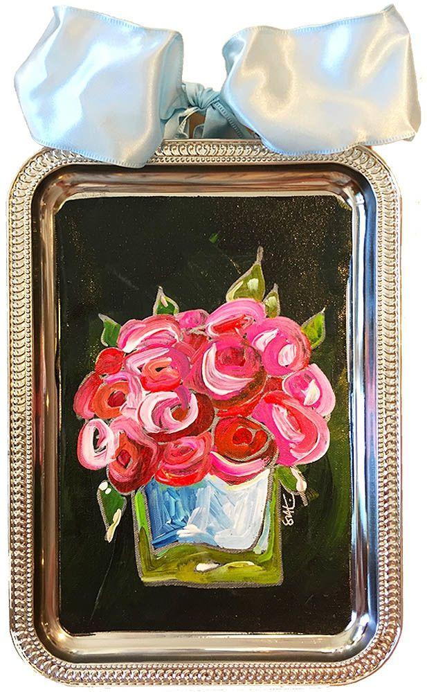 Image of très chic. original art roses on black. drooz.com