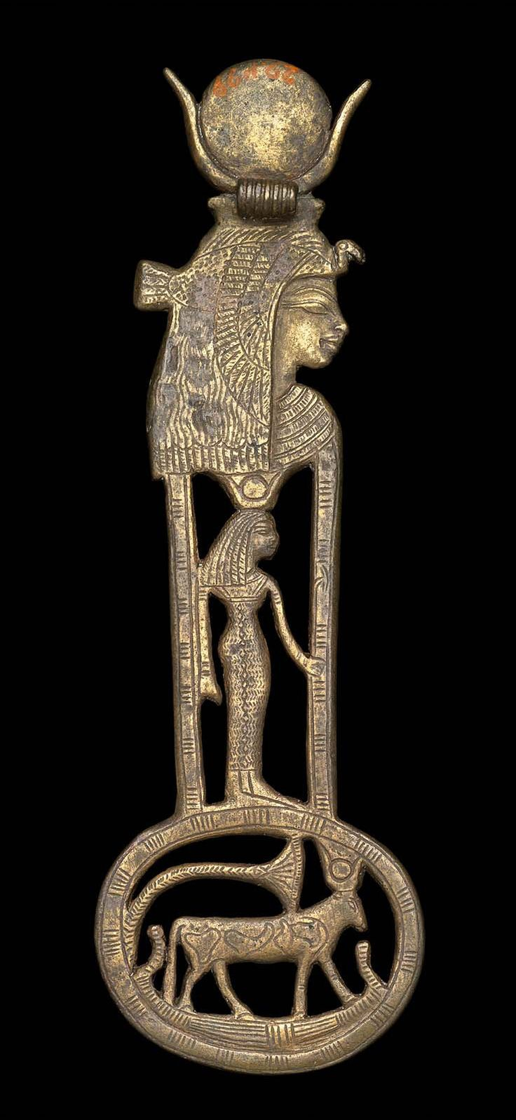 Menat (counterpoise) - Necklace with Queen Tiye as the goddess Hathor - 1390–1352 B.C. | Museum of Fine Arts, Boston