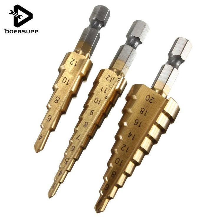 Doersupp 3pcs HSS Titanium Coated Step Drill Bit for Metal 3-12mm 4-12mm 4-20mm High Speed Steel Wood Drilling Power Tools S