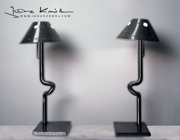 Pair of industral table lamps, designed by Janusz Król.