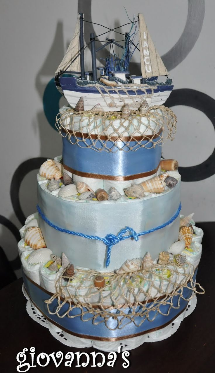 Sea themed diaper cake | baby shower diaper cakes ...