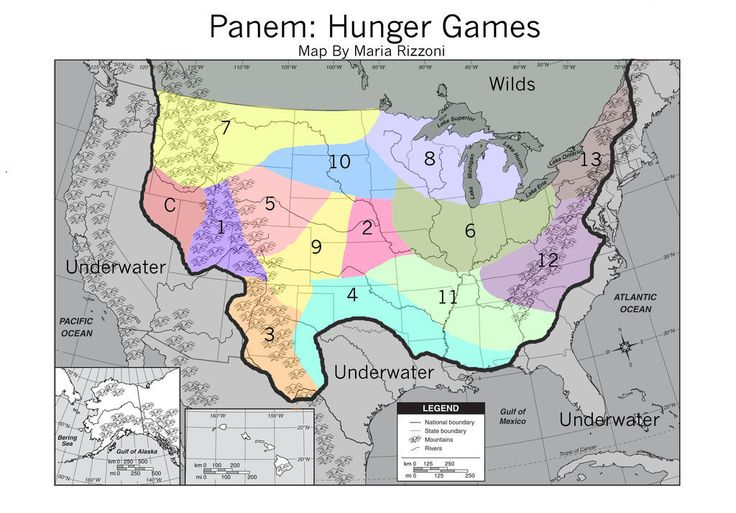 Map of Panem (Hunger Games)...i'm in thirteen and in water :)