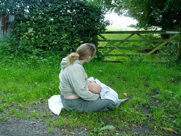 One of my Mums visiting me having a breast feeding stop during our country walk.