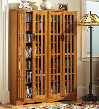 Dvd storage cabinet with glass doors woodworking for Arts and crafts storage cabinet