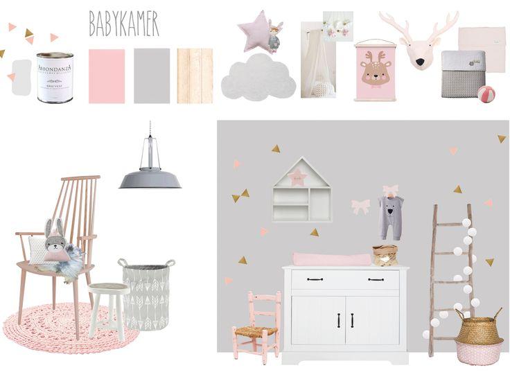 Neutrale tinten met accenten van roze en goud: dat was het uitgangspunt bij ons ontwerp van deze lieve babykamer. | #wonenvoorjou