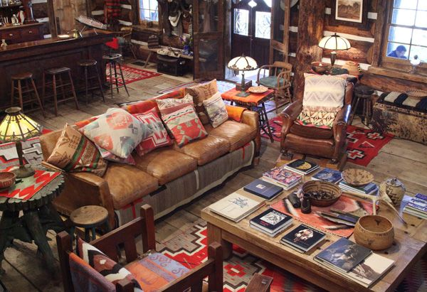 "Love the Native American influence and ""homely style""... Saw this interview with Ralph Lauren at his Ranch and was nothing short of mesmerised...! The stunning location in the Colorado mountains, the interiors, the tipi guest houses... Ahhhh, what a dream :)"