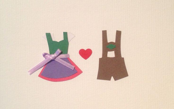 """Wedding greeting card """"Dirndl & Lederhos'n"""""""