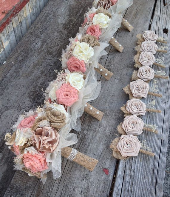 Beautiful peach burlap and champagne silk by BurlapandLacePlace